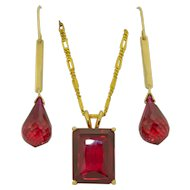 14K Ruby Pendant & Earring Set
