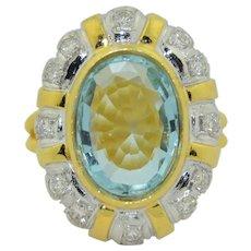 Lovely 3 Carat Natural Aquamarine and Diamond 18K Ring