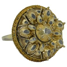 Rose Cut Diamond Silver Gilt Vintage Ring