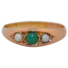 Victorian 9K Rose Gold Turquoise and Pearl Stacking Ring