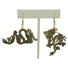 Large Double Chinese Dragon Enamel Earrings