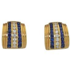 Fine 14K Natural Sapphire & Diamond Huggie Earrings