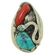 Fabulous Native American Navajo Snake Turquoise and Red Coral Sterling Silver Ring
