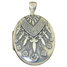 Victorian Etruscan Revival Sterling Silver 2 1/2 Inch Locket