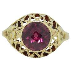 14K Rose cut 2CT Rhodolite Garnet Ring