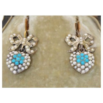Victorian 10K Pave Turquoise and Pearl Dangle Heart & Bow Earrings
