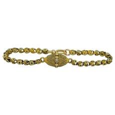 Victorian 18K Etruscan Revival 14K Star Bracelet