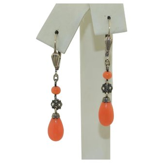 Vintage Sterling Silver Natural Salmon Coral Drop Earrings