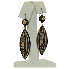 Victorian Sterling Silver & 9K Gold Inlay Pique Earrings