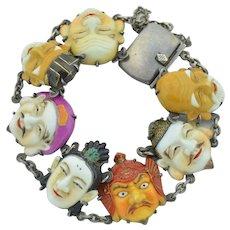 Sterling Silver Vintage 7 Fortune God Toshikane Japan Porcelain Bracelet