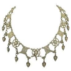 Gothic Italian 800 Silver Cherub Collar Necklace