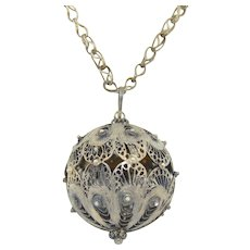 Sterling Silver Filigree Spun Wire Extra Large Bauble Orb