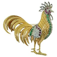 14K White & Yellow Gold Rooster with Rubies Emeralds & Diamonds. Pendant / Pin Brooch