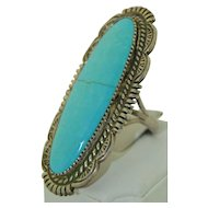 Wilbert Benally Navajo Sterling Silver Oversized Turquoise Ring SZ 11.5