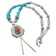 Double Sided Native American Sterling Silver Turquoise & Coral Necklace