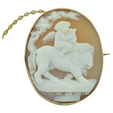Victorian Lion & Cherub Hand Carved Shell Cameo set in 9K gold
