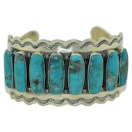 Signed Wallace Jr. Navajo Sterling Silver & Turquoise Native American Cuff Bracelet