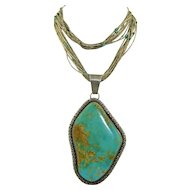 Over Sized Sterling Silver & Turquoise Native American Necklace