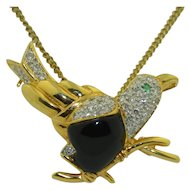 Retro 18K Diamond Emerald & Onyx Bird Pendant / Brooch / Pin