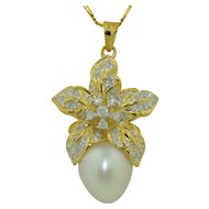 18K South Sea Pearl (15.5mm )& Diamond Gold Pendant