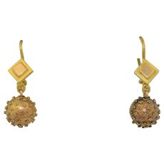Victorian Etruscan revival 18K Ball Drop Earrings