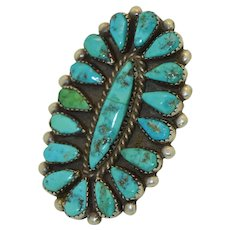 Giant Navajo Native American Sterling Silver Hand Wrought Turquoise Ring SZ 8 3/4 US
