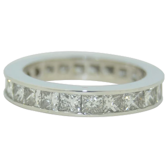 3.5 CTW Princess Cut Diamond Eternity Ring Band 14K White Gold