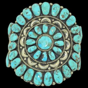 Juliana Williams, Navajo Native American Sterling Silver & Turquoise Cuff Bracelet