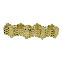 KRIA Gioielli Diamond 18K Yellow & White Gold Bracelet 8 Inches