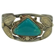 Fred Harvey Era Sterling Silver & Chrysocolla Cuff Bracelet