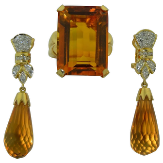 29.5CT Madeira Citrine Ring in 14K Yellow Gold