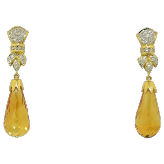 14K Madeira Citrine & Diamond Dangle Earrings with Omega Backs