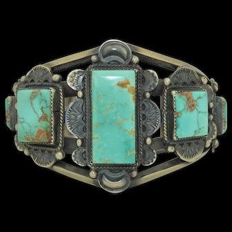 Gilbert Tom , Navajo Native American Sterling Silver & Turquoise Bracelet cuff