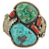 Jerry Roan Navajo Sterling Silver Coral & turquoise Native American Cuff Bracelet