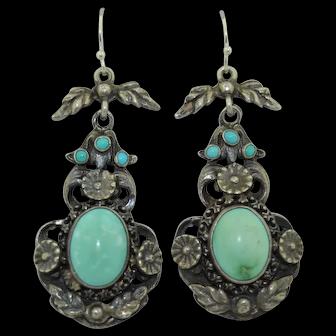Antique Austro Hungarian Belle Epoque Turquoise Silver Earrings