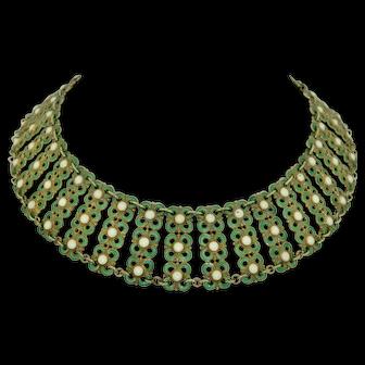 David Anderson;  Agnar Skrede 1950s Sterling Silver Gilt and Enamel WIDE Collar Necklace