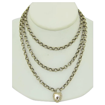 Victorian Sterling Silver Chain and Heart Pad Lock Necklace