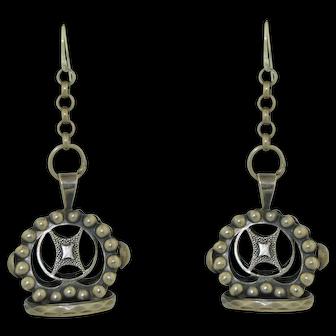 Lovely Dangle Silver Dutch Fob Seal Pendant Earrings