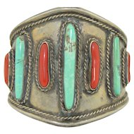 Early Native American Sterling Turquoise and Coral Bracelet Cuff