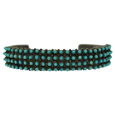 Steven Haloo signed Zuni Turquoise and Sterling Silver Snake Eye Cuff Bracelet Native American