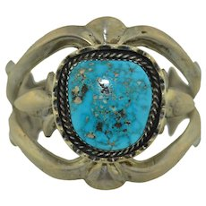 Navajo Sand Cast Sterling Silver & Turquoise Native American Cuff Bracelet