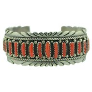 Coral & Sterling Silver Cuff Bracelet Native American Signed