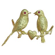 18K Detachable Love Bird Brooch Set with Rubies