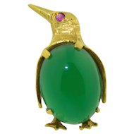 18K Chrysoprase & Ruby Penguin Pin