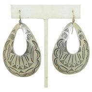Large Oblong Symbol Stamped Native American Earrings - Sterling Silver