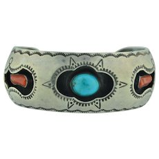 Sterling Silver Turquoise & Coral Shadow Box Bracelet Cuff - small size