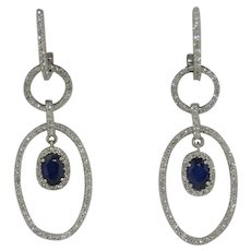 14K White Gold 2 CTW Diamond & 1 CTW Sapphire Dangle Earrings