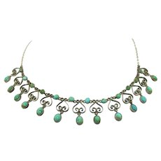 Lovely Arts & Crafts Sterling Silver and Turquoise Necklace