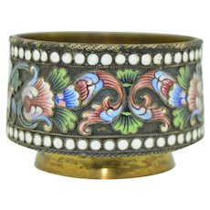 Antique Russian Cloisonné Enamel Silver Open Salt  St. Petersburg
