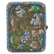 Antique Art Nouveau Russian Silver Cloisonné Case